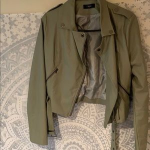 Sage faux leather jacket